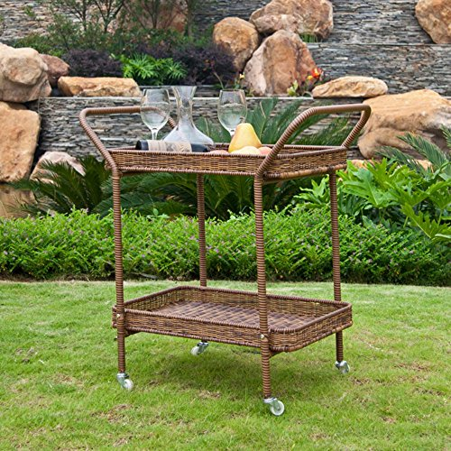 Jeco Jeco Outdoor Wicker Patio Furniture Serving Cart, Honey, Wicker, 32 inches picture