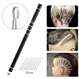 Razor Pen Kit for Hair Art, SYU Professinal DIY Hair Tattoo Tool for Hair Cut Design, Eyebrow Shaping, Beard Shaping. Included 10pcs Blades and 1pc Tweezer for Barber Hairdresser Women Man Home Salon