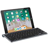 Nulaxy KM13 Bluetooth Keyboard with Sliding Stand Compatible with Apple iPad iPhone Samsung Android Windows Tablets Phones - Grey (Color: Grey)