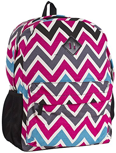 Ever Moda Black Multicolored Chevron Backpack School Bags