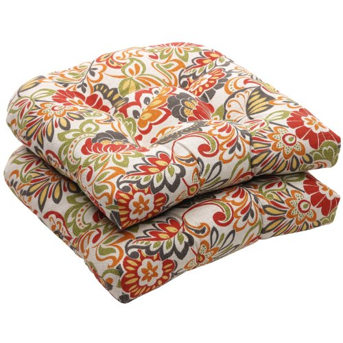 Pillow Perfect Indoor/Outdoor Multicolored Modern Floral Wicker Seat Cushions, 2-Pack image
