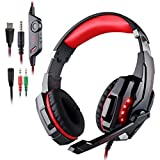 AFUNTA Gaming Headset Compatible Playstation 4 PS4 Tablet PC iPhone 6/6s/6 plus/5s/5c/5, 3.5mm Headphone with Microphone LED Light- Black + Red (Color: Red)