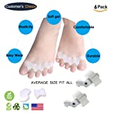 Toe Spacers for Bunions & Hammer Toes | Big Toe Corrector Gel Pads |Bunion Relieve Relief Aid Surgery Treatment Toe Separators Straighteners 3 Pair