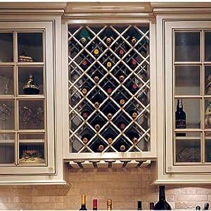 Omega National Premium Cabinet Mount Wine Lattice, 14 Bottle Capacity, 17 inch W x 36 inch H, Maple Unfinished Wood