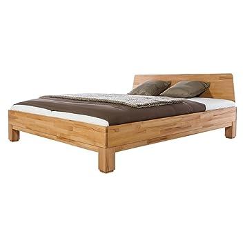 Bett Holzbett Doppelbett Harstad, 160x200, Massivholz Holz Kernbuche massiv geölt, Breite 165 cm, Tiefe 210 cm, Höhe 88 cm