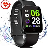 FITVII Smart Watch, Fitness Tracker with Multifunctional Sport Mode, Heart Rate & Blood Pressure Monitor with SpO2 and Sleep Tracker, Waterproof Color Screen Activity Health Tracker for Women Men (Color: BLACK)