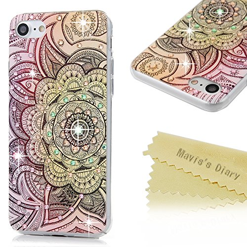 iPhone 7 Case (4.7 inch) - Mavis's Diary 3D Handmade Bling Crystal Rhinestone Diamonds Lovely Colorful Patterns Shiny Sparkling Gems [Full Edge Protection] Clear Hard PC Cover - Purple Totem Flower (Rainbow Light Precious Gems compare prices)