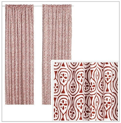 IKEA LAPPLJUNG Pair of Curtains, 2 panels, white / red, NEW (Red White Curtains compare prices)