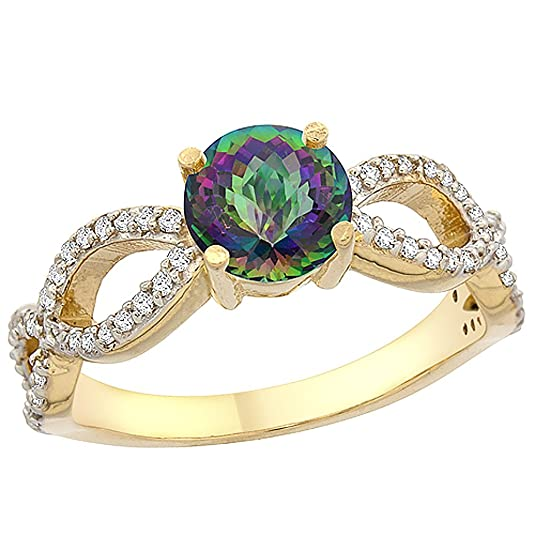14ct Yellow Gold Natural Mystic Topaz Ring Round 6mm Infinity Diamond Accents, sizes J - T