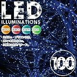 【特価】イルミネーションLEDライト カラー:ブルー【全長8M】LED100灯 点灯8パターン・コントローラ付・最大10個(最長80m)まで連結可能