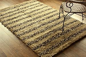 Designer Sandy Grey shaggy striped rug. Heavy Quality. Handmade with 100% polyester pile, Size 4'x6' (120 cm x 180 cm) from next