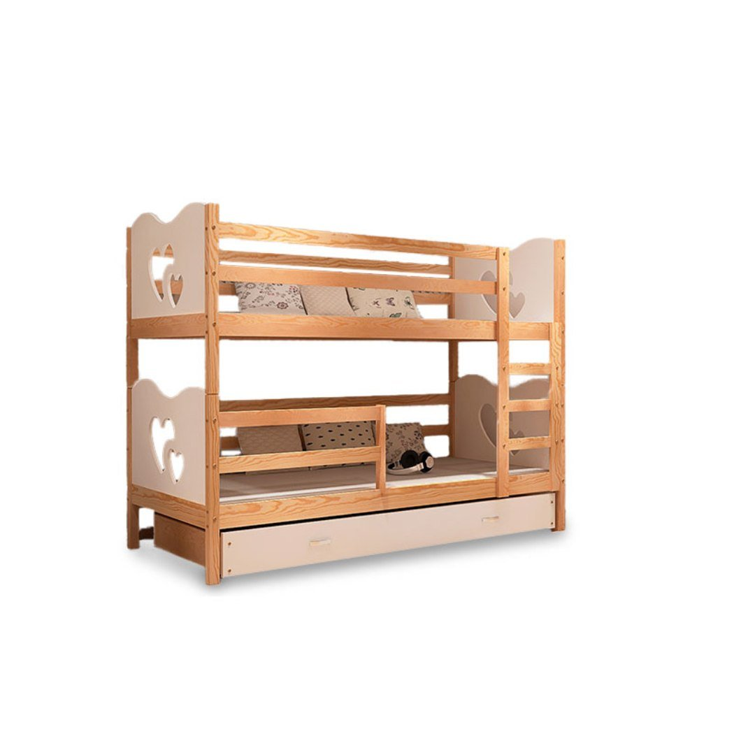Kinder Bett Etagenbett Kinderbett Kinderzimmerbett 2 Personen MAX neu Kiefer Weiß Herzen neu jetzt kaufen