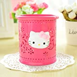 YOURNELO Cute Hello Kitty Hollow-Out Pen Pencil Holder Desk Organizer Accessories (Rose Butterfly)