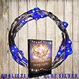 Qualizzi BLUE Micro LED Lights 20 Amazingly Bright Blue LEDs Battery Operated on a 7ft Copper Wire Silver String (Ultra Thin). Indoors & Outdoors Fairy Lights. *-NEWEST MODEL- (100% Full Satisfaction Guarantee)