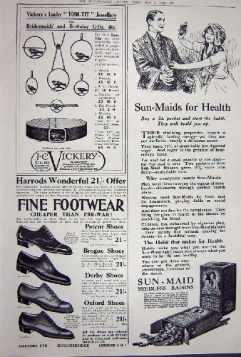 Advertisement 1922 Cigarettes Harrods Footwear Raisins