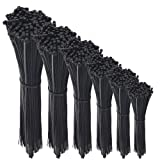 600 Pcs Nylon Cable Zip Ties with Self-Locking 4/6/8/10/12/14 Inch & 0.145 Inch Width By Agolds (Color: Black, Tamaño: 4, 6, 8, 10, 12,14 inches)