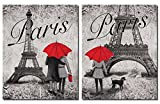 Strolling in Paris- Two Beautiful 11 x 14 in Poster Prints Eiffel Tower and Red Umbrella Set
