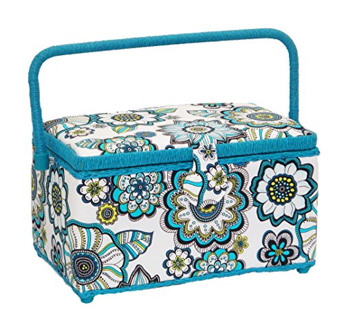 Cheapest Prices! Dritz St. Jane Sewing Basket Medium Rectangle (11.5 L x 7 W x 6.75 H); Flowers i...