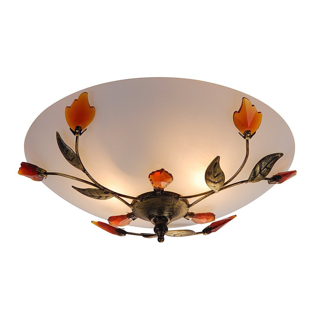 Globo Metal Opal Satined Decor Leaves Pandora Ceiling Lamp       review and more description