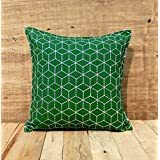Dark Green Throw Pillow Cover Cotton Cushion Cover Embroidered Geometric Pattern Bohemian Moroccan Standard Size...