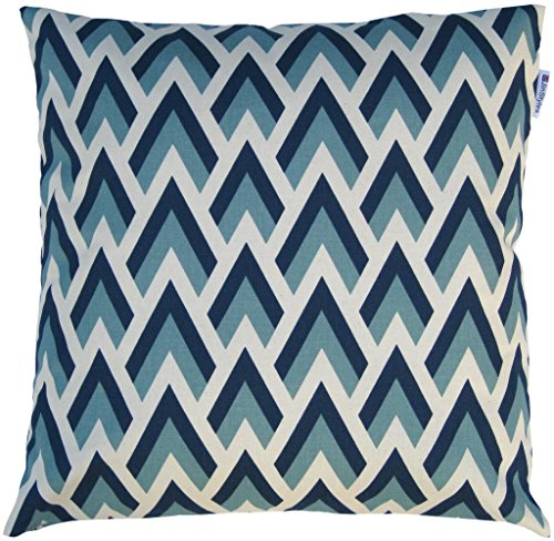 JinStyles Cotton Canvas Chevron Spike Accent Decorative Throw/Toss Pillow Cover (Blue, Navy, White, Square, 1 Cover for 18 x 18 Inserts)