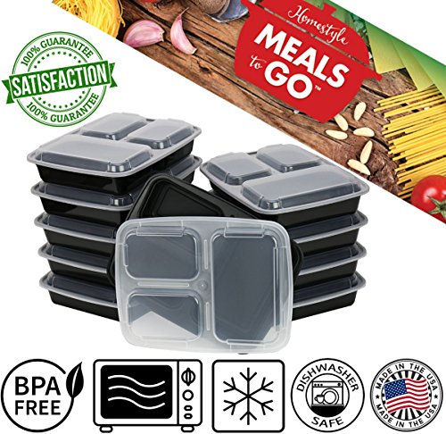 MealsToGo Plastic Lunch Boxes with Lids 3 Compartment Container 32 oz BPA Free, Stackable, Reusable, Microwave Safe, Bento Lunch Box Set, Made in USA, Great to Prepare Food For Adults & Kids(10 Pack) (Insulated Cake Boxes compare prices)