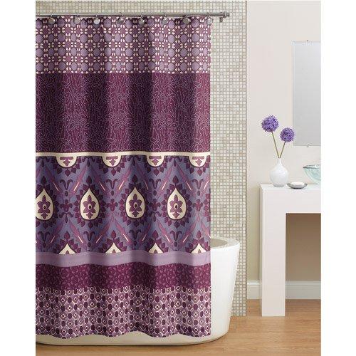 Beautiful Purple Paisley Bohemian Fabric Shower Curtain