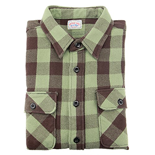 bii-free-mens-green-long-sleeved-plaid-thick-autumn-winter-retro-style-casual-shirt-large