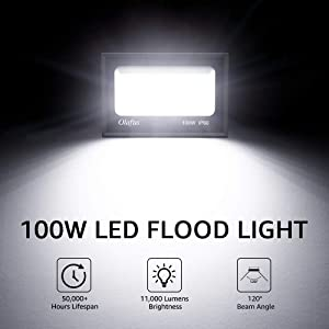Olafus 2 Pack 100W LED Flood Light Outdoor, 11000lm Super Bright Floodlights, IP66 Waterproof Exterior Security Lights, 5000K Daylight White Lighting for Lawn, Playground, Yard, Volleyball Playcourt (Color: 100w- 2 pack)