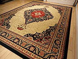 New Traditional Rugs Multiple Sizes Rug 8x11 Black Rug Persian 8x10 Area Rug Black Cream Red Beige Traditional Tabriz Design Living Room Carpet (Large 8\'x11\' Rug)