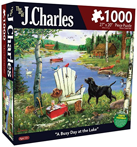 Karmin International J. Charles A Busy Day at The Lake Puzzle (1000-Piece) - 1
