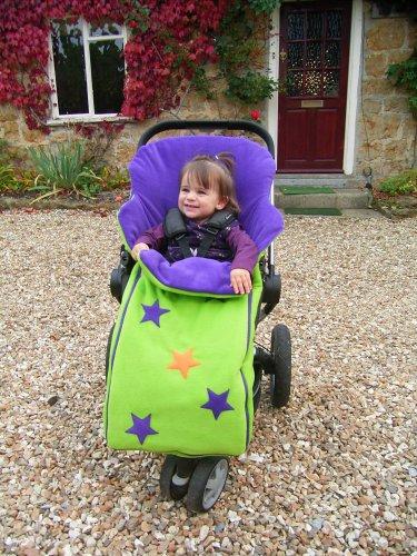 Cozyosko reversible buggy bag Lime Stars / Purple Caterpillar