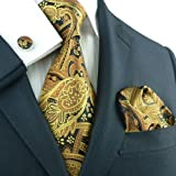 Landisun 651 Gold Black Paisleys Mens Silk Tie Set: Tie+Hanky+Cufflinks