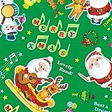 タカ印 クリスマス包装紙 10枚ロール ミュージックノエル緑 全判 49-4529