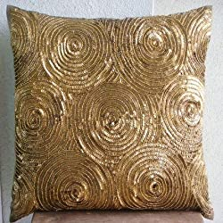 Golden Touch - Decorative Pillow Covers - Silk Pillow Cover Embellished with Sequins