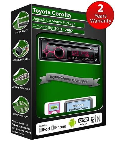 Toyota Corolla Autoradio CD MP3 radio play Clarion, iPod, iPhone, Android