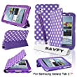 SAVFY Samsung Galaxy Tab 2 7.0 (P3100 P3110) Leather Case Trifold Stand Folio Case Cover and Stylish Polka Dots, Bonus: Screen Protector + Stylus Pen (polka dots PURPLE)