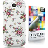 CaseiLike � wei�, Floral Rose Classic, Snap-on Koffer wieder cover f�r Samsung Galaxy S4 S 4 S IV SIV i9500 i9505 mit Displayschutzfolie