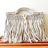 hand made bag sahi オリジナル hoocked ribbonxl zpagetti 色 ベージュ フリンジ ハンド メイド バッグ レディース 裂き布 手編み ママ コーデ カジュアル フックドュ ズパゲッティ かぎ針