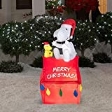 3.5 Ft Tall Christmas Outdoor LED Inflatable Snoopy and Woodstock Sitting on Doghouse Decor | Yard or Lawn Seasonal Ornament w/ Light | Great Display By the Tree