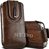 N E Fing Brown PU leather magnet button Pull Tab Case and Mini Stylus for Samsung Omnia W I8350(s)