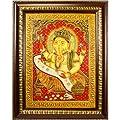 Hand Painted Scroll Ganesh Wall Art