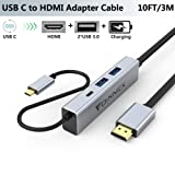 USB C to HDMI 10FT Cable, Charging Power PD, 2 USB 3.0. Dex Dock for Samsung S10,S9,S8 Plus,Note 10/9/8,MacBook Pro,Nintendo Switch,Surface Pro 7,Lenovo,Asus,Dell,HP to TV/Monitor Adapter/Hub Cord 4K (Color: USB C to HDMI Cable 10ft)