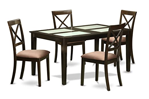 East West Furniture CAB5G-CAP-C 5-Piece Dining Table Set