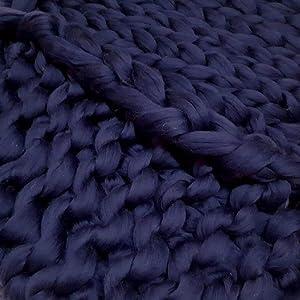 Giant Wool Yarn Chunky Merino Arm Knitting Super Soft Wool Yarn Bulky Wool Roving Navy 6.6 lbs (Color: Navy, Tamaño: 6.6 lbs)
