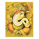 GATTS Beautiful Pleasant Scene Wooden Ganesha Wall Painting(27x15.5x0.5 Inch)