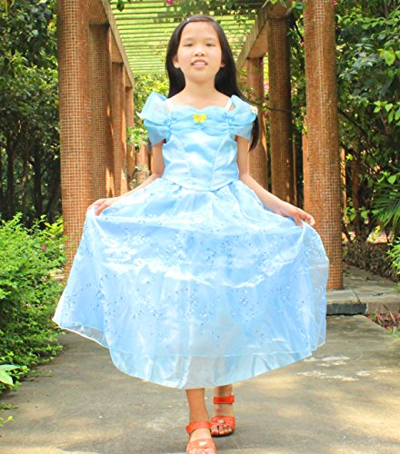 2015 NEW Cinderella dress blue princess dress Costume for girls