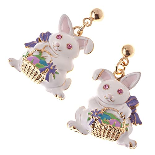 Spring Easter Jewelry Crystal Rhinestones Cute Bunny Gold Basket Dangle Earrings