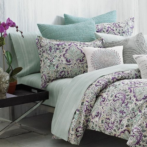 Under The Canopy Organic Cotton ~Mystic~ Purple Teal Twin Comforter Set front-763448