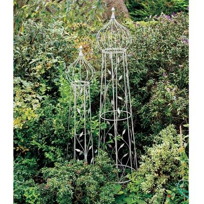 Laura Ashley 3A097135 Round Garden Obelisks, Oyster, Set of 2 ...